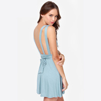 Fashion wide suspenders racerback after the bow pleated skirt one-piece dress haoduoyi
