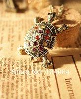 2014 Hot sale  Free Shipping Vintage Style Colorful Rhinestone Tortoise Pendant Necklace N172