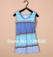 Baby Girls Dresses New Summer 2014 Girls Blue Striped Dress For Party Kids Princess Dresses Retail and Wholesale Drop shipping