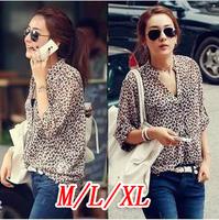 2014 spring women's stand collar loose roll sleeve medium-long sunscreen long-sleeve chiffon shirt leopard print 1227