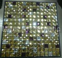 [Mius Art Mosaic] Glossy lavender & gold color mix diamond mirror  glass mosaic tile for kitchen backsplash D3005