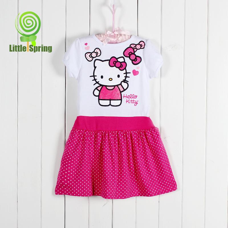 Free shipping NEW 2014 summer children dress cute girl Japan hello kitty summer dresses kids cartoon clothes clothing(China (Mainland))