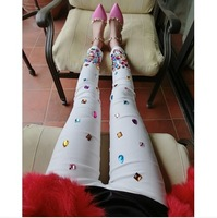 Fashion handmade diamond sparkling beading white elastic slim skinny legging pants laides