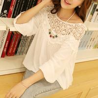2014 hot sell Korean Style High quality Sweet Lace Cutout Women Shirt Handmade Crochet Cape Collar loose chiffon Blouse F087