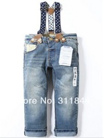 2014 new 1PCS zar6827a High quality children's brand jeans  baby boys girls long denim trousers with strap pants free shipping