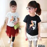 wholesale(5pcs/lot)-   cotton cartoon bambi casual short-sleeve child girlt-shirt