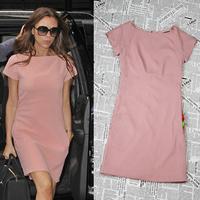 2014 New Spring/Summer Fashion Classic Straight Dress Victoria Beckham Knee-Length Casual Dress Pink Back Zipper Dress Plus Size