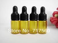 100pcs 3ml Amber Small Glass Dropper Bottles/Vials For Essential Oil,Perfume Sampling