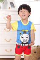 2014 Promotion Thomas Train Summer Children's Cartoon Casual Clothing Sets Baby Boys Cartoon Summer Clothing Sets Wholesale