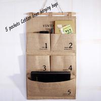 5 Pockets cotton linen clothes storage hanging bags