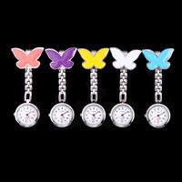 Pocket Medical Nurse Fob Watch Clip-on Pendant Hanging Quartz Clock Butterfly Shape Women Dress Watches 5 Colors