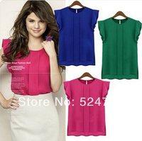 2014 New Women Butterfly Chiffon Blouse Shirt Lady Fashion Ruffles Short-Sleeve Blouse Top Shirt 4 Size S M L XL