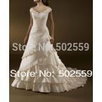 IV-001 free shipping princess tank  lustrous satin wedding dress