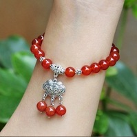 National trend of natural red agate miao silver longevity lock bracelet girlfriend gift gifts