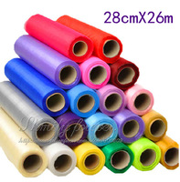18 COLORS U PICK !26M ROLL OF ORGANZA  SHEER FABRIC WEDDING PARTY TABLE RUNNER CHAIR SASH BOWS