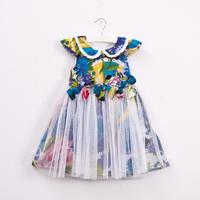 5pcs/lot wholesale High quality,2013 New Summer baby girl print floral bowknot dress,100% cotton flower dress, princess clothes