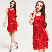 Chinese Festive Red Paillette Rope Flower Formal Tank Sequin dresses Elegant Sexy O-neck Party Club bodycon Dress