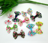 50pcs Mixed Baby Satin Ribbon Cotton Flower Bowknot Hair Clips Applique DIY Craft Wedding Bow Tie Decoration 3.5x2.2cm