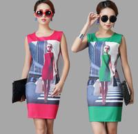 New arrival high elegant women sleeveless vest dress 3D print summer casual bodycon dress hot sale