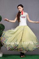 2014 spring and summer women's chiffon orchid half-length  fairy high waist skirt