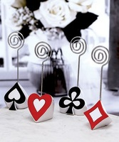 Newest Wedding favor Wholesale 300PCS/LOT(spades, hearts, clubs, and diamonds choice) Poker Themed Place Card Holders