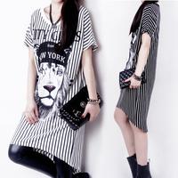 New Spring/Summer 2014 Fashion Lion's Head Printing dresses women Short Sleeve O-Neck dress Striped dresses Vestido