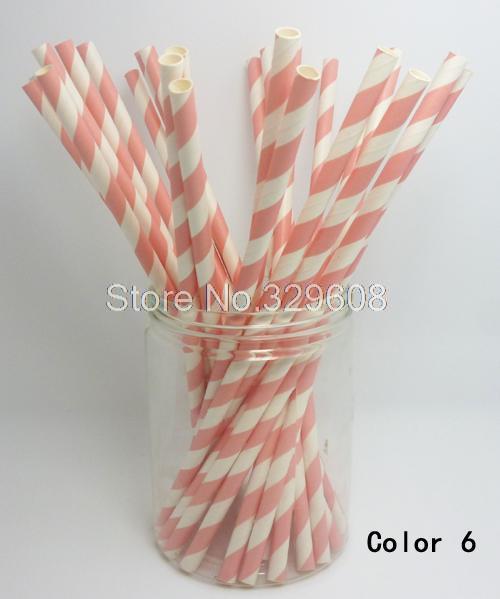 Pink Striped Paper Straws 25 Pcs Paper Straws Light Pink