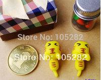 Freeship mini order$25 women'DIY Polymer clay Earrings Jewelry ladies girl'cartoon tiger yellow 925silver sterling earring gift