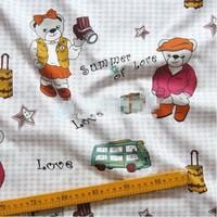 "Cartoon The Naughty Bear Comfortable Soft 100% Cotton Fabric 20"" X 63"" FCX63"