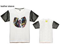 Discount fashionable wu tang hip hop t shirt men design leather/leopard short sleeve tshirts cotton o neck classic print tees