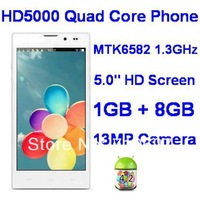 Unlocked NEW 5.0inch HD Screen Cheap Quad Core Mobile HD5000 Android Phablet MTK6582 1GB RAM 8GB ROM WiFi GPS 3G 13MP Camera