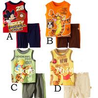 Retail- New 2014 summer Boy clothing set Cartoon Winnie mickey tiger vest suit 2 pieces 4 designs