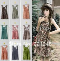 2014 spring sweet floral print dress  women's basic vest slim one-piece dress