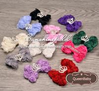 Trial Order Mini Rose Mesh Bow with Mini Tiara Button Baby Hair Clip 30pcs/lot QueenBaby