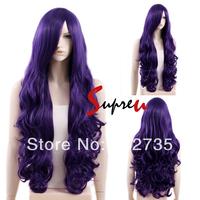 80cm Heat Resistant Long Curly Dark Purple Cosplay Hair Wig
