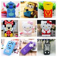 3D Cute Minnie Stitch Winnie Hello Kitty Minions Mickey  MJ Soft Silicone Rubber Case Cover for Galaxy S3 I9300, Free shipping