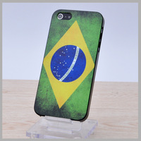 Brasil Free Shipping Plastic Colorful Cover For Apple iPhone 5 5S Hard Case Fashion Design Item Flags Brazil Aging Treatment