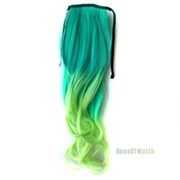 Fashion Green to light Green Curly Ponytail Hair Extensions (NWG0HE60932-NG2)