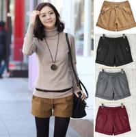 Size S-XXXL Four Colors 2014 Autumn Winter Women's Turn-Up Straight Boot Cut Plus Large Casual Woolen Shorts 2004 T12-4