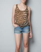 2014 summer Womens Chiffon Blouses Leopard Sleeveless Fashion Shirts O-Neck Tops Lace Partchwork Shirt Blouse Free Shipping