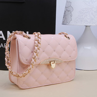 2014 Women's handbag  hasp plaid chain bag rhinestone buckle Brand Lingge shoulder bag