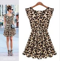Women dresses New Spring Summer 2014 Sleeveless Round Neck Leopard Dress Europe and America Style Thin Waist Dresses Vestido