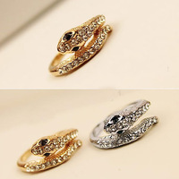 Fashion Men Women Jewelry High Quality Crystal Snake Ring Gold And Silver Plated Punk Ring  SR236