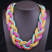Free shipping Exaggerated necklace for women fashion statement necklace mix color Hemp flowers necklace choker necklace