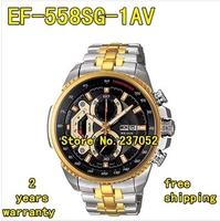 NEW Gold EF-558SG-1AV EF-558SG-1A EF-558SG 558SG MEN'S CHRONOGRAPH TACHYMETER MINERAL GLASS 100M GENTS WRISTWATCH