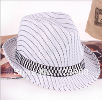 Free Shipping! 2014 New 10pcs/lot Fashion Men/Women Adult Lines stripe paragraph fedoras jazz hat fashion cap casual hat