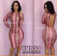 2014 New Club Dress Novelty Snakeskin Glam Bandage Dresses Woman Printed Bodycon Club Wear Long Sleeve Knee-Length Evening Dress