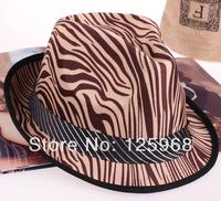 Free Shipping! 2014 New 5pcs/lot Fashion Men/Women Adult Zebra Lines stripe paragraph fedoras jazz hat fashion cap casual hat