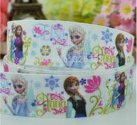 7/8''(22mm) 50 yards/lot Frozen grosgrain ribbon /hairbow /DIY party decoration/Anna & Elsa floral Ribbons