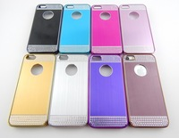 Luxury Shining Plating chrome Wire Drawing Metal hard case cover for iphone 5 5S,Hollow out design to display the Logo